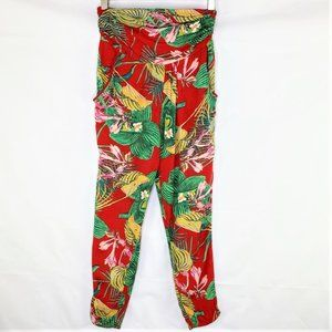 Roxy Red Tropical Floral Print Harem Beach Pants, Small